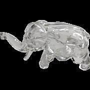 Tiara Indiana Glass Clear Elephant Trinket Box Figurine