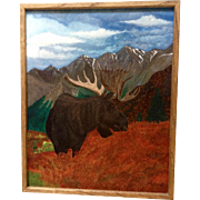 M. Horvat, North American Moose In The Mountains Oil Painting On Board Signed By Artist