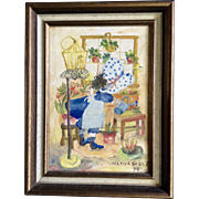 Wanda Stone, Small Acrylic Painting on Board, Little Girl Busily Watering Her Indoor Garden, Signed by Artist