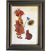 Wanda Stone, Small Acrylic Painting on Board, Little Redhead Girl With a Sunflower and Cat, Signed by Artist