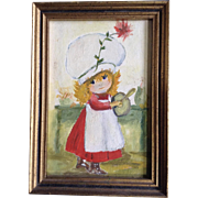 Wanda Stone, Small Acrylic Painting on Board, Little Baker Girl With a Big Hat, Signed on Back by Artist