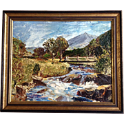 Scotland Royal Deeside on the Road From Scottish Blairgowrie to Braemar, TGH 1971 Oil Painting on Board