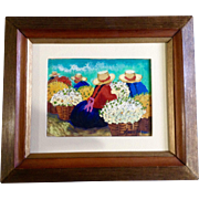 Mujeres Campesinas Oil Painting on Board Recolectoras de Flores Peru Art Signed by Artist