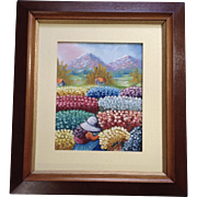 Mujeres Campesinas Oil Painting on Canvas Recolectoras de Flores Peru Art Signed on back Cambion