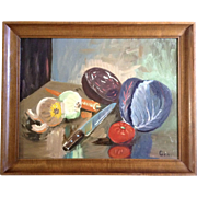 Still Life The Cutting Board Culinary Chef's Knife And Vegetables Oil Painting On Canvas Panel Signed by Artist