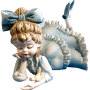 Vintage Lefton Japan Hand Painted #KW3757 Blue Girl Holding a Little Bird Laying Down Porcelain Bisque Figurine with Original Foil Sticker