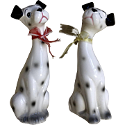 Adorable Dalmatian Dog Salt & Pepper Shakers 1970-1980 Long Neck Ceramic Figurines
