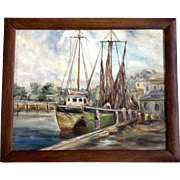 McJee, Fishing Boats At Dock Oil Painting on Board Signed By Artist