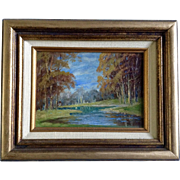 Boris B Major (1876 - 1951), Oil Painting, Slow Moving Stream Through A Forested Meadow, Painted On Board Signed By Listed Artist