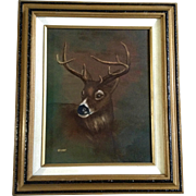 Bishop, Buck Deer Portrait Profile, Oil Painting on Canvas, Signed by Artist