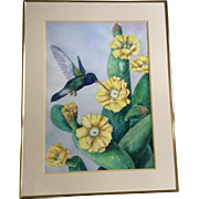 E. S. Jenkins, Hummingbird Drinking From A yellow Cactus Flower LARGE Watercolor Painting Works On Paper Signed By Artist