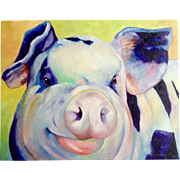 Sandra Spencer Red Cheeked Pig Oil Painting on Canvas Signed By Artist