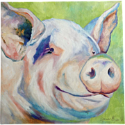 Sandra Spencer Smilin' Pig Oil Painting on Canvas Signed By Artist