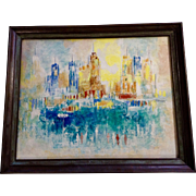 Vintage 1960's Abstract Expressionist CityScape Oil Painting on Canvas Signed By Artist