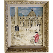 Prunia, Decoupage Painting Vatican City St Peters Square (Piazza San Pietro) Italy Mixed Media Collage On Board Signed By Artist