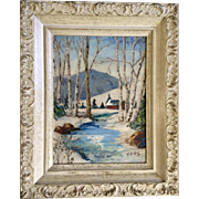 T McKay, Oil Painting, Snow Covered Valley Stream Signed by Artist