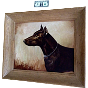 Dirk Van Driest (1889 - 1989) Doberman Pinscher Dog LARGE Portrait Oil Painting On Canvas Signed By Listed Artist