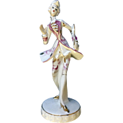 Vintage Wales Japan Happy French Man with Pink Lapel and Gold Colored Walking Stick Mid-Century Porcelain Figurine