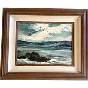 Seascape Oil Painting on Canvas View Across a Chanel or Cove on Great Lakes