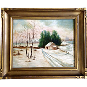A Williams, Oil Painting, Country Road In The Snow, Art Nouveau Frame Signed By Artist