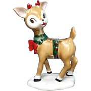 Ceramic Reindeer Christmas Candle Holder Unmarked Mid-Century Figurine