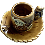 Vintage Miniature Souvenir Colorado Cup and Saucer Squirrel Aspen Leaves Ceramic Set Thriftco Japan