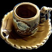Vintage Miniature Souvenir Colorado Cup and Saucer Squirrel Aspen Leaves Ceramic Set Thriftco Japan