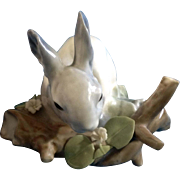 "Retired Lladro Feeding Gray Rabbit Porcelain Figurine 3.5"" NEEDS Restored"