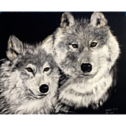 Bobbi Sisk, Scratchboard Art Etching Painting Two Gray Wolves Signed by Artist
