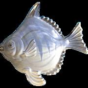 RARE Fish Shaped Blue Trinket Box Made in Japan Vintage Ceramic