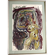 David V Gonzales, Acrylic Painting, Nude Woman Figure Works On Paper Signed By Colorado Artist