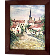 L. Scharwath, Oil Painting Housing and a Church Cathedral Signed by Listed Artist