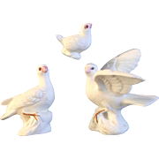 Bone China Miniatures White Dove Bird Family Set Vintage Taiwan Animal Figurines