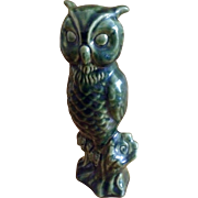 Vintage Van Briggle Pottery Glossy Green Owl Figurine Statue