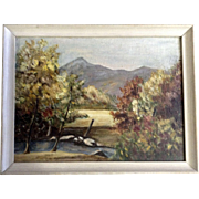 Mountain Vistas Through the Autumn Trees Oil Painting on Canvas Panel Unsigned