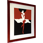 Amulet Della Costa, Original Fashion Girl With Black Hat, Serigraph On Fine Linen Canvas Board Signed Limited Edition Signed by Listed Italian Artist
