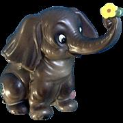 Vintage Josef Originals Large Elephant Holding Yellow Flower Ceramic Figurine Japan