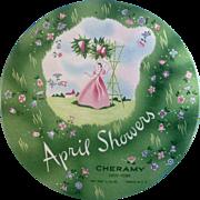 Vintage Green Cheramy April Showers Powder Tin New York USA Empty