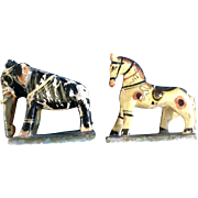 Grandpa's Antique Wood Elephant and Horse Carved Animal Toys Primitive Folk Art Figurines