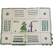 "1936 Sampler Handmade By Betty Green 15-1/2"" Wide Unframed"