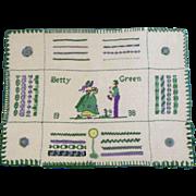 "1936 Sampler Handmade By Betty Green 15-1/2"" Wide Unframed"