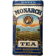 Monarch Green Tea Vintage Tin Reid Murdoch & Co. Established 1853 Hinge Top Copyrighted 1923 USA