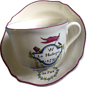 Saint Amand France A Caira W La Montage Cup and Saucer Set Made 1989 for the Bicentennial French Revolution 1789-1799 Ceramic Set