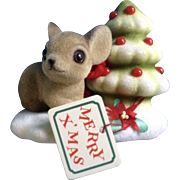 Josef Originals Fuzzy Mouse and Christmas Tree Japan Vintage Figurine Original Tag and Foil Seal