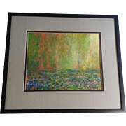 W. Knapp, Oil Painting, Water Lilies And Sunrise On Canvas Signed by Artist