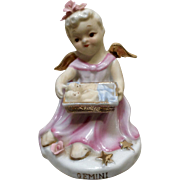 Vintage Lefton China Girl Angel Gemini Zodiac Hand Painted Figurine K8650