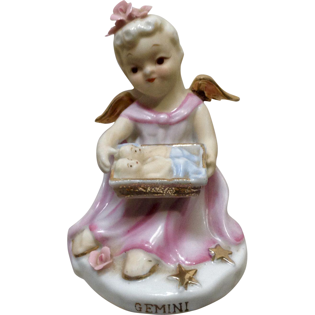 Vintage Lefton China Girl Angel Gemini Zodiac Hand Painted