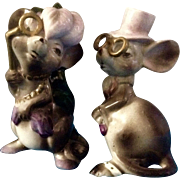 Vintage Mice Anthropomorphic Dressed with Gold Eyeglasses Mid-Century Japan Figurines