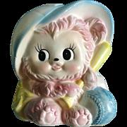 Vintage Napcoware Pink Teddy Bear Baby Planter Baseball Japan Figurine 8594