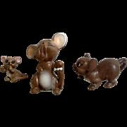 3 Vintage Josef Originals Adorable Mice Ceramic Japan Figurines